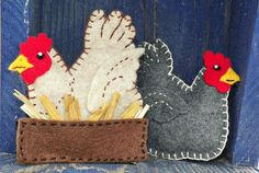 Felt Chicken Ornament Free Pattern