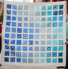 blue paintbox quilt (pattern by Oh Fransson, quilted by Sydney Simon) Hand Quilting, Quilting Ideas, Quilting Projects, Quilt Patterns, Plus Quilt, Quilt Top, Scrappy Quilts, Patchwork Quilting, Square Quilt