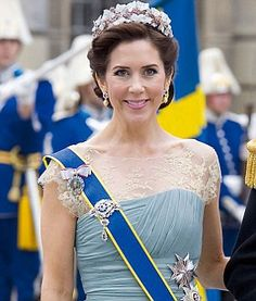 Crown Princess Mary of Denmark wearing the Danish Ruby Tiara during the royal wedding of the Crown Princess of Sweden, Victoria to Daniel Westling