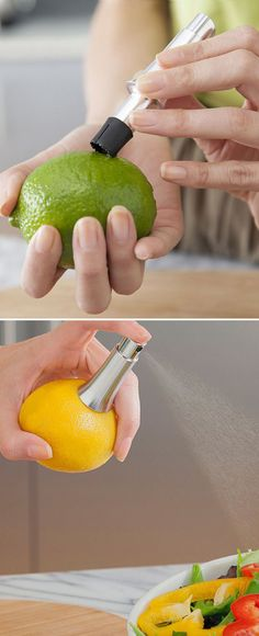 Stainless steel citrus pump spray - extracts and dispenses lemon and lime juice without squeezing! Actually works. #product_design
