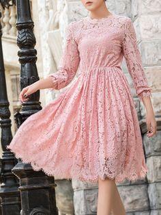 Shop Midi Dresses - Pink Lace Elegant Swing Pierced Midi Dress online. Discover unique designers fashion at StyleWe.com.