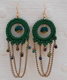 Crochet Jewelry Patterns, Crochet Earrings Pattern, Crochet Accessories, Crochet Designs, Crochet Necklace, Crochet Mat, Love Crochet, Beautiful Crochet, Bracelet Crafts