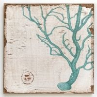 Coral Branch Teal (zoom) Lithograph on Wood
