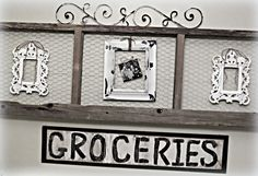Inspiration for my ladder    Down to Earth Style: Old Wood & Chicken Wire Art