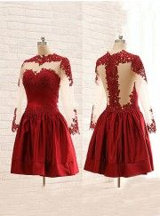 Simple-dress Elegant Cowl Long Sleeves Short Dark Red 2015 Homecoming Dresses/Party Dresses SAHD-70784