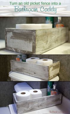 Make a DIY Bathroom Caddy to use as a holder for toilet paper, air freshener, lotions or other essentials, a great organization idea!