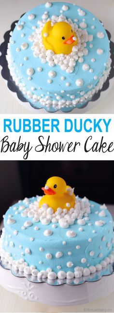 and baby design Rubber Ducky Baby Shower Cake Gummi Ducky Babyparty-Kuchen Cupcakes Baby Shower Niño, Baby Shower Cake Decorations, Babyshower Cake Ideas, Baby Shower Cake Designs, Baby Shower Desserts, Ducky Baby Showers, Rubber Ducky Baby Shower, Rubber Ducky Cake, Birthday Desserts
