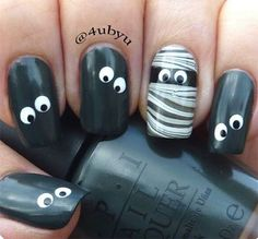 18 funny and funny Halloween nails that will completely you .- 18 lustige und lustige Halloween Nägel, die dich komplett begeistern werden 18 funny and funny Halloween nails that will completely delight you - Fancy Nails, Red Nails, Cute Nails, Pretty Nails, Hair And Nails, Halloween Nail Designs, Halloween Nail Art, Funny Halloween, Halloween Ideas