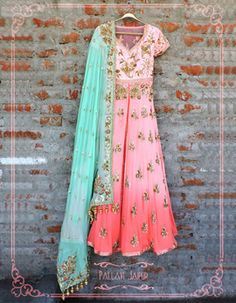 Indian Wedding Suits - Anarkali | WedMeGood Pink Ombre Anarkali with Mint Dupatta A V-neck half sleeves floor length pink ombre anarkali with scattered gold work, turquoise dupatta with gold embroidery and gold motif. #wedmegood #anarkali #pink #ombre #mint #turquoise #motif