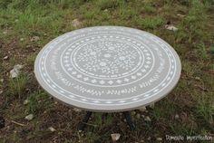 A DIY gray and white faux bone inlay stenciled table using the Indian Inlay Medallion Stencil. http://www.cuttingedgestencils.com/indian-inlay-stencil-medallion-kim-myles-stencils.html