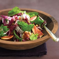 Rich in fiber and potassium, figs are a sweet and nutritious addition to a salad. Arugula offers plenty of vitamins A and C, and pine nuts have vitamin K.