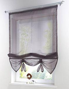 "Uphome 1pcs Liftable Organza Kitchen Balcony Curtains - Tie-Up Rod Pocket Roman Window Shades - Sheer Voilet Window Vanlance,40"" by 61"",Dark Grey"