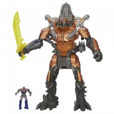 The Transformers Age of Extinction: Stomp & Chomp Grimlock figure from Hasbro is a huge Transformers figure of the Dinobot, Grimlock. Grimlock Transformers, Transformers Age, Knitted Beard, One Step, Christmas Toys, Action Figures, Stuff To Buy, Sound Effects, 5 Years