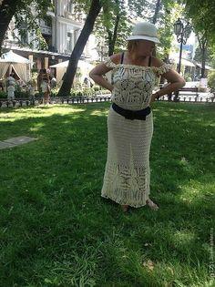 Купить Платье Рафаэла, ажурный, длинный, сарафан, связаный крючком - бежевый сарафан крючком