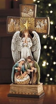 Holy Family Nativity Cross Christmas Decoration Gorgeous Christmas cross with angel praying over the holy family. Measures 14 inch tall Made of resin Christmas Advent Wreath, Handmade Christmas Decorations, Christmas Nativity, Christmas Bells, Christmas Cross, A Christmas Story, The Nativity Story, Nativity Scenes, Christian Christmas