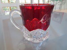 Vintage Oconomowoc Red Ruby Flash Glass Mug by ClassicKarma
