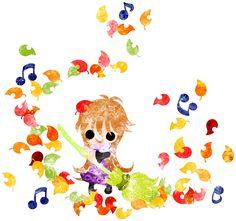 """フリーのイラスト素材秋と女の子の可愛いイラスト -落ち葉の掃除-  Free Illustration """"The cute illustration of autumn and girl -Cleaning of fallen leaves-   http://ift.tt/2fuuslu"""