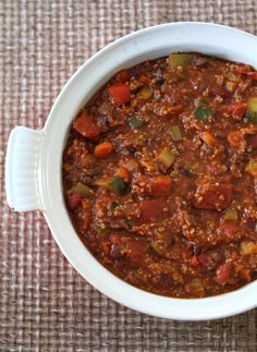 Vegetarian Quinoa Chili. Yummy. Quite the list of vegetables to chop up, but worth it in the end. We added olives that we had on hand and they were pretty good. Could maybe use another carrot or two.