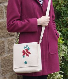 This neat, lightweight bag is made from suede-effect fabric and features an appliqued clematis flower on its flap. Clematis Flower, Belt Bags, Fusible Interfacing, Beige Color, Vegan Friendly, My Bags, Upcycle, Cotton Fabric, Crossbody Bag