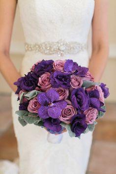 unique purple #bouquet | Photography: Meg Ruth Photography - www.megruth.com  Read More: http://www.stylemepretty.com/little-black-book-blog/2014/05/07/modern-las-vegas-wedding/
