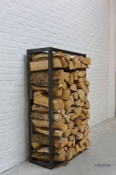 These indoor firewood storage ideas will help you pick the perfect rack for your firewood, keeping your home beautiful without leaving you broke. Firewood Holder, Firewood Storage, Indoor Log Storage, Bin Shed, Steel Fabrication, Cafe House, Wood Shed, Workshop Storage, Backyard Sheds