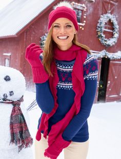 3e5538fe847 Discover your modern classic look with Reindeer-Print Fair Isle Sweater  from Talbots. Talbots · Winter Wonderland