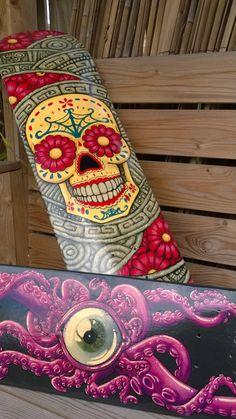 Custom Hand Painted Skateboard Decks. MADE TO by Lowbroweyebrow