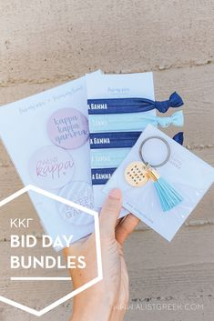 Spoil your new members this recruitment with the Pref Present bundle! Gift bag includes a sorority tassel keychain, hair tie set, and button set. Kappa Kappa Gamma Gifts | Kappa Kappa Gamma Bid Day | Kappa New Member Gifts | KKG Rush Gift Bags | Kappa Kappa Gamma Recruitment | Sorority Bid Day | Sorority Recruitment | Bid Day Bags | Sorority New Member Gift Ideas #BidDayGifts #SororityRecruitment Kappa Kappa Gamma, Alpha Sigma Alpha, Alpha Delta, Sorority Bid Day, Sorority Recruitment, Bid Day Gifts, Bid Day Themes, Tassel Keychain, Elastic Hair Ties