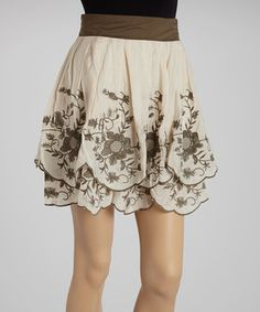 Look what I found on #zulily! Olive Embroidered Skirt by Ryu #zulilyfinds