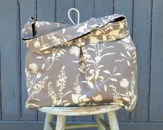 Grey Black Diaper Bag, XL, Reversible, Adjustable Strap , Joel Dewberry Ginseng