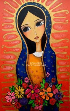 Virgine of Guadeloup Catholic Art, Religious Art, Images Google, Arte Popular, Mexican Folk Art, Mother Mary, Christian Art, Whimsical Art, Art Plastique