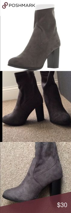 Grey Faux Suede Sock Booties Completely new! Never worn because didn't fit my sister. Super cute though!! Bought for $40 and selling for $30. Price negotiable! Charlotte Russe Shoes Ankle Boots & Booties
