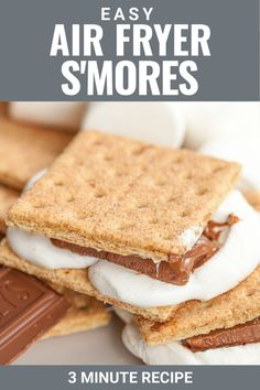 This easy recipe for a air fryer s'mores shows you exactly how to make a perfect s'more in your air fryer in 3 minutes or less using chocolate, graham cracker and puffy marshmallows. Great for a rainy day to make s'mores indoors with easy clean up! Healthy Dessert Recipes, Healthy Sweets, Fun Desserts, My Recipes, Holiday Recipes, Real Food Recipes, White Chocolate Cookies, Chocolate Treats, Best Chocolate
