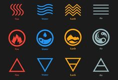 Raster illustration of four elements icons, line, triangle and. Earth Symbols, Rune Symbols, Magic Symbols, Four Elements Tattoo, 4 Elements, Earth Element Symbol, Element Symbols, Elemental Magic, Elemental Powers