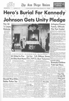 Thanks for visiting my Kennedy photo gallery. This website brings together several hundred high-quality images pertaining to the life and. Newspaper Front Pages, Vintage Newspaper, World History, History Pics, Kennedy Assassination, Newspaper Headlines, John Fitzgerald, John Kennedy, Time Capsule