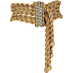 Pre-owned 1950s Diamond Gold Rope Fringe Bracelet ($11,500) ❤ liked on Polyvore featuring jewelry, bracelets, belts, accessories, chain bracelets, vintage bangle, gold rope bracelet, 14k bangle, 14k rope bracelet and 14k gold bangles