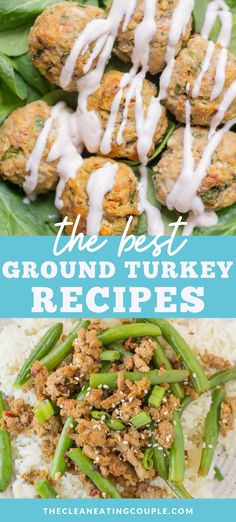 These are the Best Ground Turkey Recipes! No matter what diet you follow (whole30, paleo, keto) these healthy turkey recipes are great are easy to make and perfect for dinner! Ground turkey burgers, ground turkey meatloaf and ground turkey meatballs - there's something for everyone! Best Ground Turkey Recipes, Healthy Turkey Recipes, Healthy Gluten Free Recipes, Whole30 Recipes, Lunch Recipes, Easy Whole 30 Recipes, Easy Clean Eating Recipes, Easy Healthy Dinners, Healthy Meal Prep