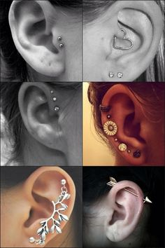 ideas for ear piercing. ;love the second one on the right!