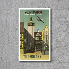 ca.1950 Fly TWA to Germany // Trans World Airlines // High Quality Fine Art Reproduction Giclée Print // Vintage Airline Travel Art by WiredWizardWeb on Etsy
