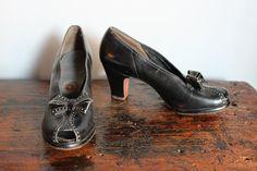 1940s Heels //  Lindy Hop Heels // vintage 40s platform heels by dethrosevintage | Etsy