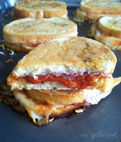 Parmesan Crusted Pizza Grilled Cheese for a crowd