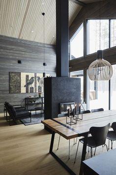 Inspiration for a modern log house – Honka – rustic home interior Modern Cabin Interior, Interior Design, Modern Cabin Decor, Modern Wooden House, Log Decor, Cabin Homes, Log Homes, Cabin Design, House Design