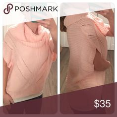 Pink Quarter Sleeve Cowl Neck Sweater Gorgeous pink heavy cowl neck sweater. Is almost quarter sleeve. Warm & Cozy. Such a classy/elegant sweater ! Sweaters Cowl & Turtlenecks