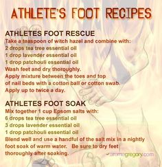 Essential oil recipes for athlete's foot using natural ingredients and essential oils.