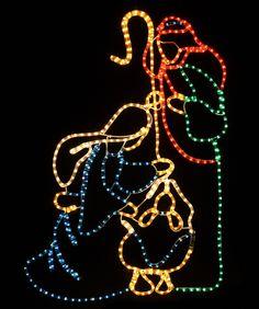Christmas Rope Light Nativity Scene - Holy Family