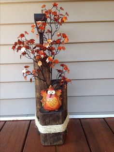 Solar light made from landscape timbers- fall/ owl