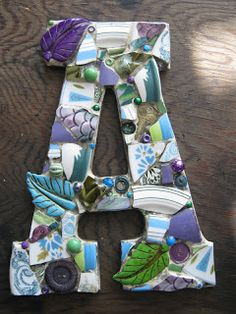 "Custom mosaic letter ""A"" in blue, green and purple, mosaic art ~"