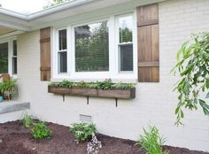 how to build a window box container gardening curb appeal gardening how to woodworking projects Exterior Paint Colors, Exterior House Colors, Paint Colors For Home, Exterior Shutters, Exterior Design, Homes With Shutters, White Wash Brick Exterior, Farmhouse Exterior Colors, Cedar Shutters