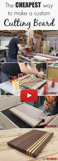 Learn how to make a custom cutting board with scrap offcuts and leftover wood! Full video tutorial. #WoodworkingTips