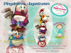 Pinguinitos juguetones, navidad, manualidades, goma e.v.a, foamy, fieltro, biscuit